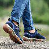 Men Casual Trend for Fashion Lace Up Outdoor Flat Type Leather Shoes - BLUE
