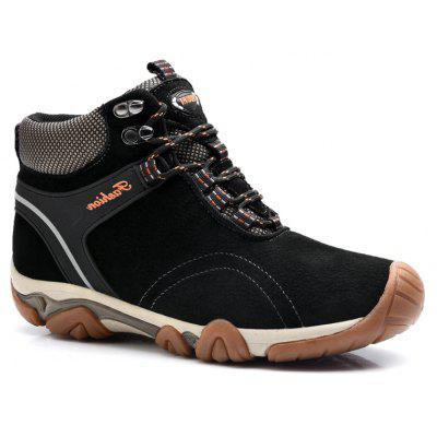 Men Casual Trend for Fashion Lace Up Outdoor Flat Type Leather Ankle Boots