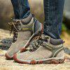 Men Casual Trend for Fashion Lace Up Outdoor Flat Type Leather Ankle Boots - GRAY