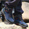 Men Casual Trend for Fashion Lace Up Outdoor Flat Type Ankle Leather Boots - BLUE