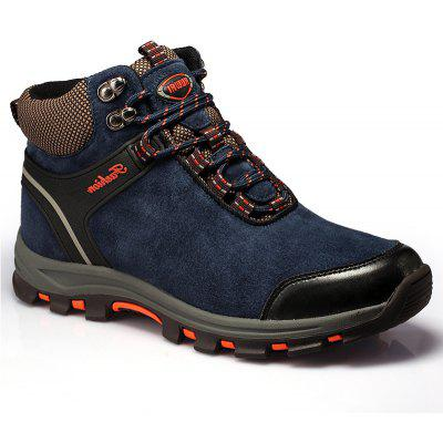 Men Casual Trend for Fashion Fur Lace Up Outdoor Flat Type Ankle Suede Leather Boots