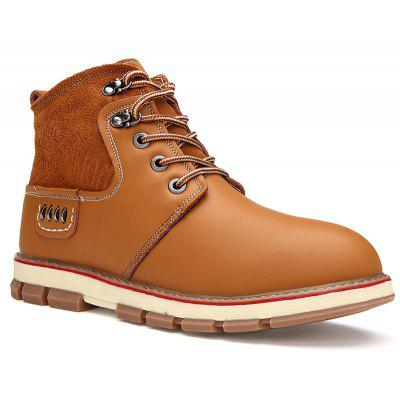 Men Casual Trend for Fashion Lace Up Outdoor Hiking Flat Type Ankle Leather Boots
