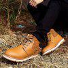 Men Casual Trend for Fashion Lace Up Outdoor Hiking Flat Type Ankle Leather Boots - YELLOW