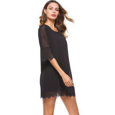 Lace Loose Large Size Sleeve Chiffon DressBodycon Dresses<br>Lace Loose Large Size Sleeve Chiffon Dress<br><br>Dresses Length: Mini<br>Elasticity: Nonelastic<br>Fabric Type: Chiffon<br>Material: Polyester<br>Neckline: Round Collar<br>Package Contents: 1 X Dress<br>Pattern Type: Solid<br>Season: Summer, Spring<br>Silhouette: Straight<br>Sleeve Length: 3/4 Length Sleeves<br>Style: Casual<br>Waist: Natural<br>Weight: 0.2000kg<br>With Belt: No