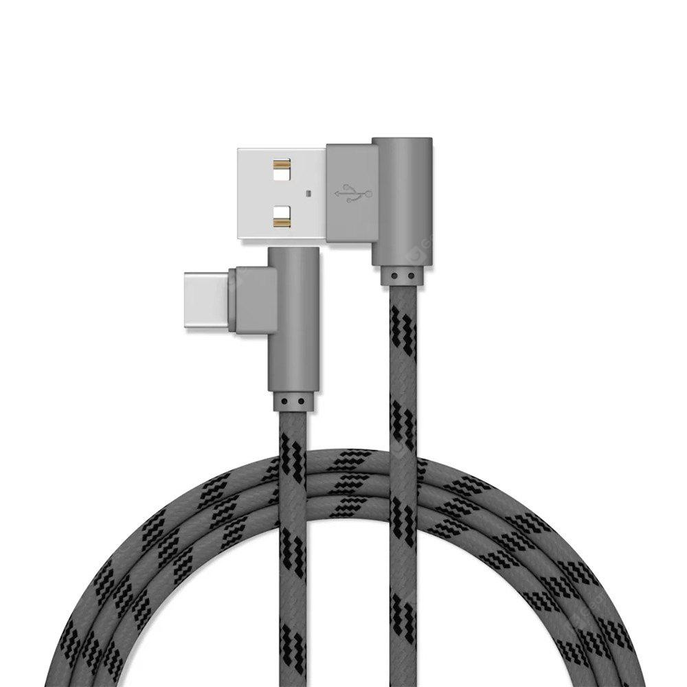 1M Phone Data Cable Extended Fast Charge with Bended USB Interface Charging for Type-C Devices