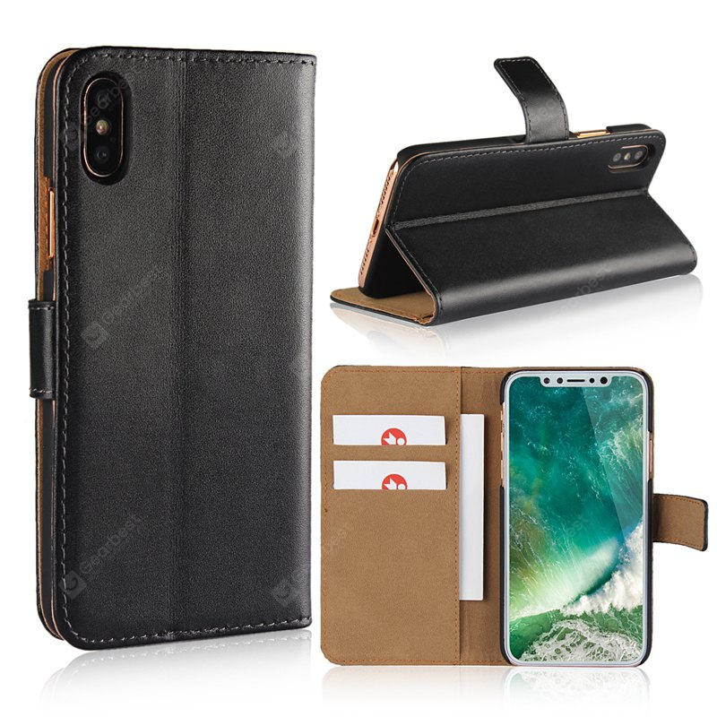 Cover Case for iPhone X Flat Two Layers of Cowhide Leather