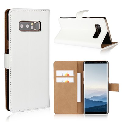 Cover Case for Samsung Galaxy Note 8 Flat Two Layers of Cowhide Leather