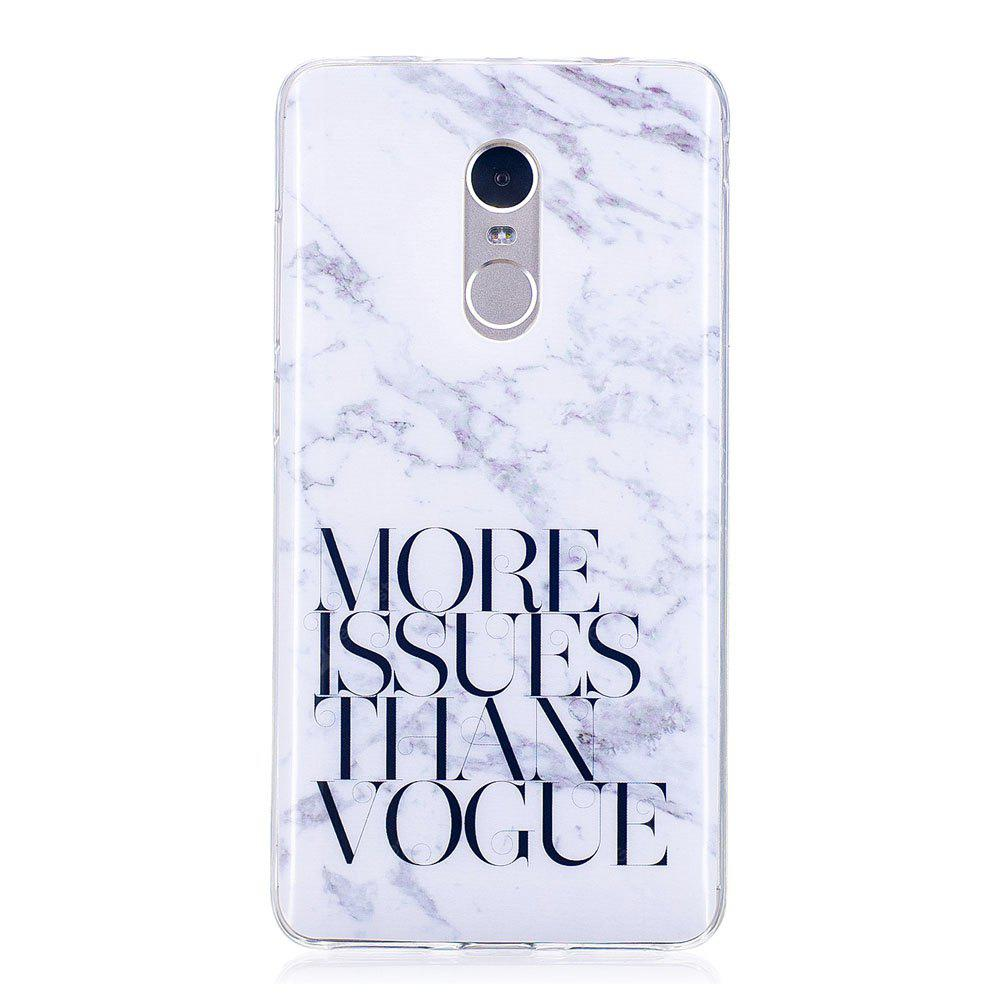 Letter Marble Style TPU Soft Cover Case for Xiaomi Redmi Note 4 / 4X