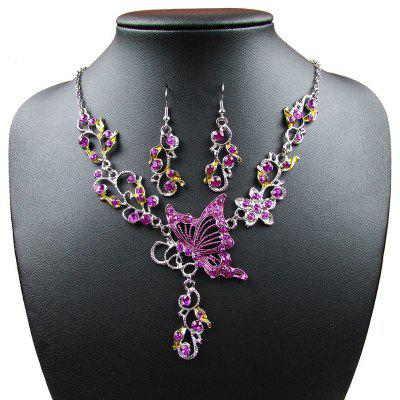 Vintage Diamond Flower with Butterfly Pendants Collana Orecchini Collane Gioielli Regali per le donne