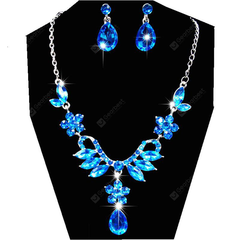 Women Girls Shining Diamond Pendants Necklace Earrings Fashion Luxury Choker Collar Jewelry Set Gifts