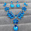 Women Girls Shining Diamond Pendants Necklace Earrings Fashion Luxury Choker Collar Jewelry Set Gifts - BLUE