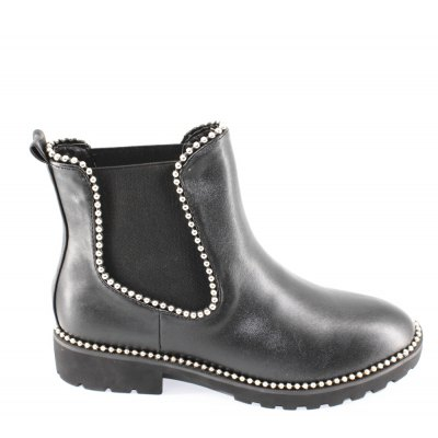 Metal Beads Trim PU Ankle Boots