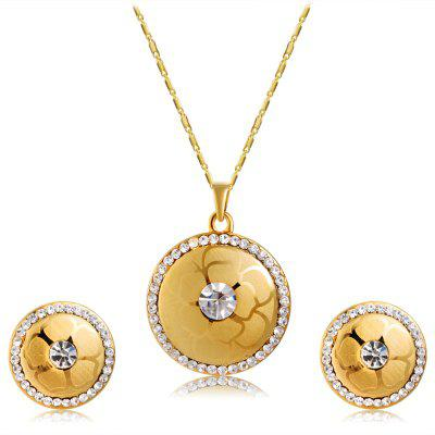 Women'S Crystal Pendant Necklace Earrings Set