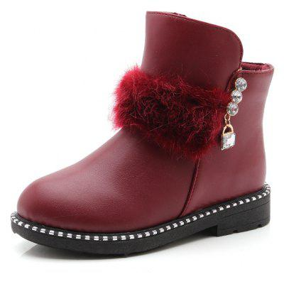 Buy BURGUNDY 30 Kids Leather Cotton Winter Children Martin Boots for $32.71 in GearBest store