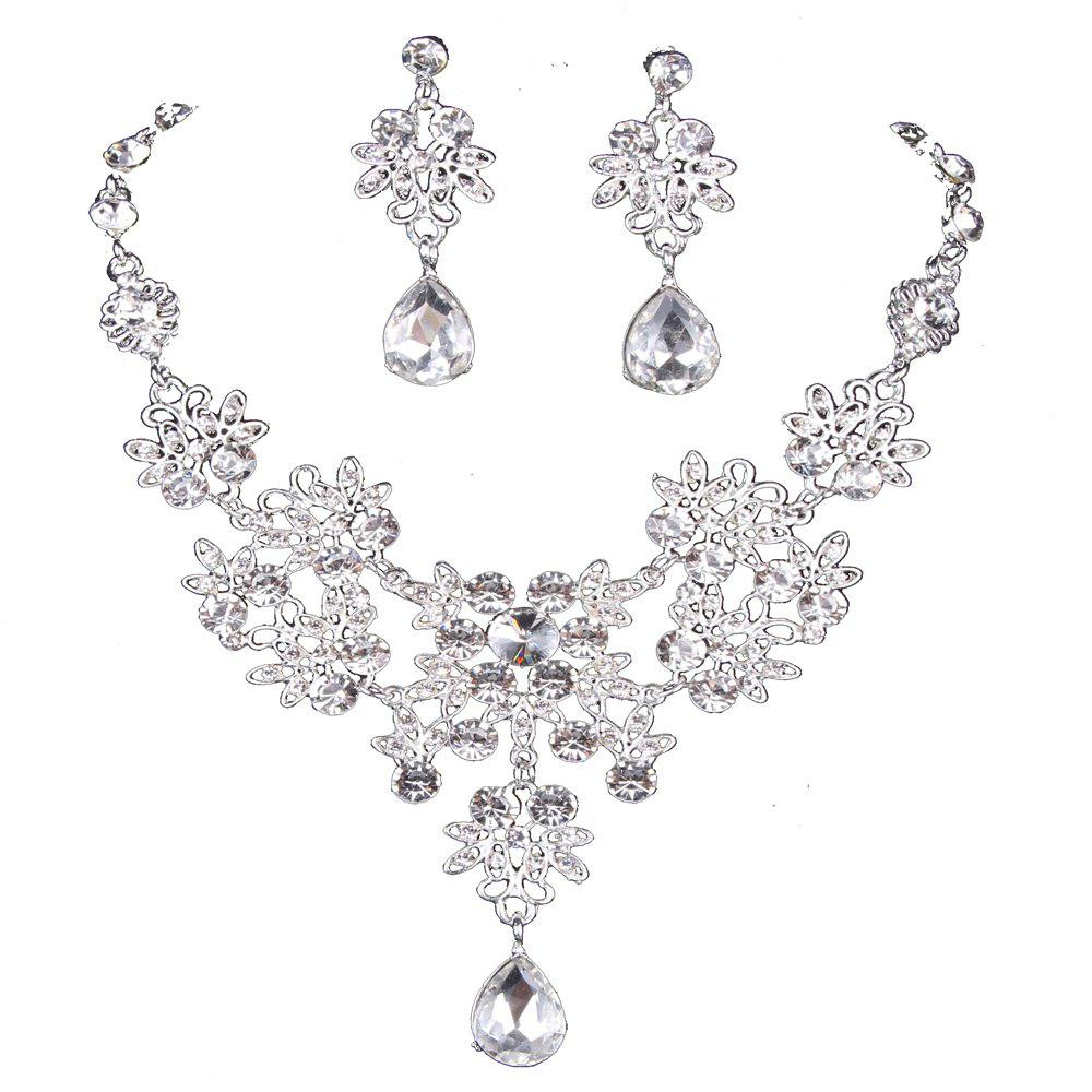 set plated and rhodium jewelry oa drop necklace earrings bling bridal cz teardrop