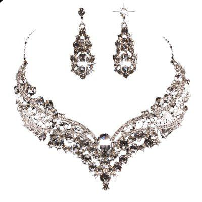 The bride of jewelryJewelry suit Crystal necklace Diamond necklace Necklace earrings suit