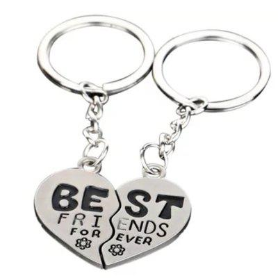 1 Pair Split Heart Zinc Alloy Keyring Best Friends Key Chain Cute Gift