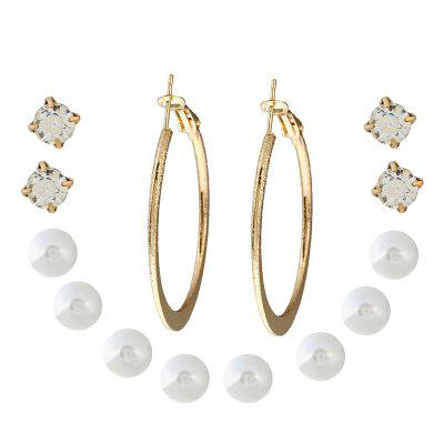 7PAIR Fashionable Pearl Alloy Water Drilling Multi-Piece Earrings