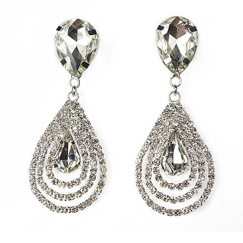 Fashionable Droplet Crystal with Diamond Earrings