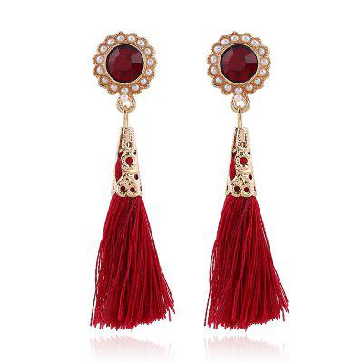Diamond-Encrusted Pearl Tassel Earrings