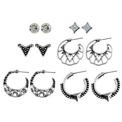 6PAIR Multi-Piece C-Shaped Alloy Hollowed-Out Leaves with Drill Earrings
