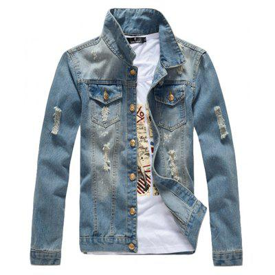 Giacca da uomo Fashion Cool Washed Style Hole Design Frayed Denim Jacket