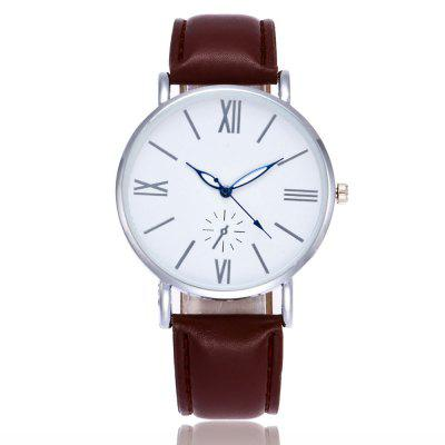 New Trendy Fashion Silver Dial Glossy Leather Neutral Quartz Watch with Gift Box