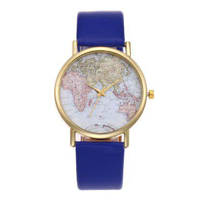 New Trendy Fashion Gold Dial Glossy Leather Map Quartz Watch with Gift Box