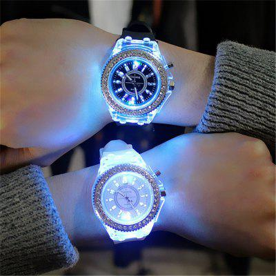 Genève Led Light Flash Luminous Montre Tendances de la personnalité Étudiants Lovers WristWatch