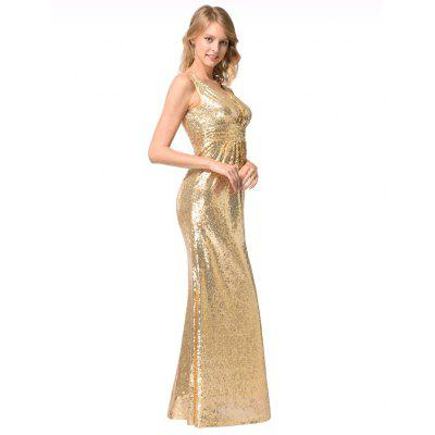 Womens V-Necked  Gold Sequined Bridesmaid DressWomens Dresses<br>Womens V-Necked  Gold Sequined Bridesmaid Dress<br><br>Dresses Length: Floor-Length<br>Image Source: Actual Images<br>Package Contents: 1xdress<br>Season: Fall, Spring, Summer, Winter<br>Silhouette: Trumpet/Mermaid<br>Weight: 0.6000kg
