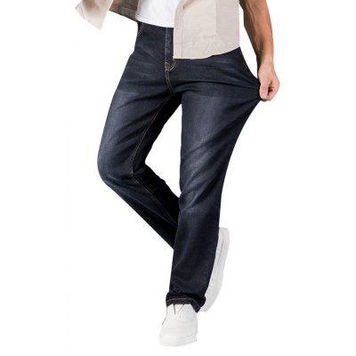 Men Straight Fit Blue Stretch Denim Pants Large Size Trousers Business Casual Cowboys Man Jeans