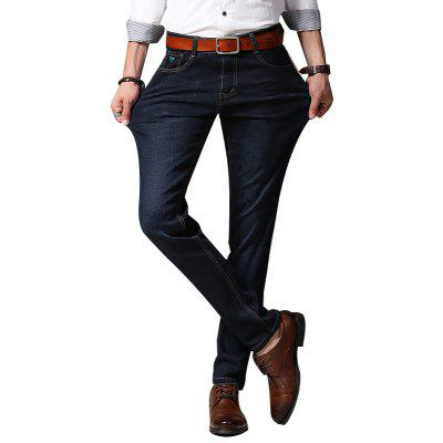 Buy Men Straight Fit Stretch Denim Pants Large Size Man Jeans BLACK 36 for $32.55 in GearBest store