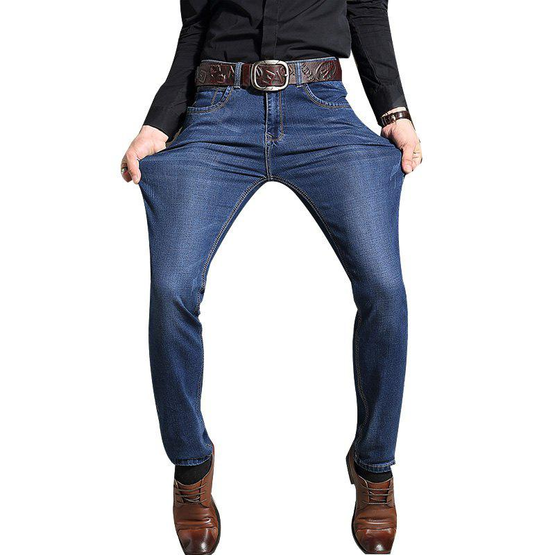 Men Straight Fit Stretch Denim Jeans Large Size Men Trousers