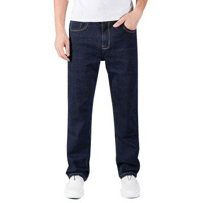 Buy Man Loose Fit Stretch Denim Pants Plus Size Casual Cowboys Men Jeans BLACK 44 for $32.55 in GearBest store
