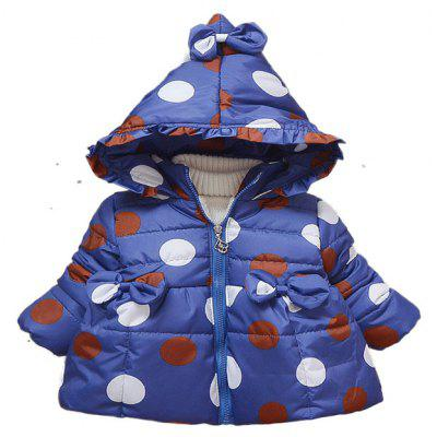 Girl'S Winter Hooded Coat with Long Sleeves and Long Sleeves
