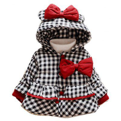 Girl'S Winter Extra Thick Hooded Bow Coat