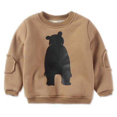 Boy'S Round Neck and Velvet Autumn Winter Long-Sleeve Cartoon Hoodie
