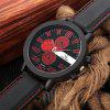 Colck Style Watch Stainless Steel  PU Leather Strap Man Quartz Analog Black Watch - RED