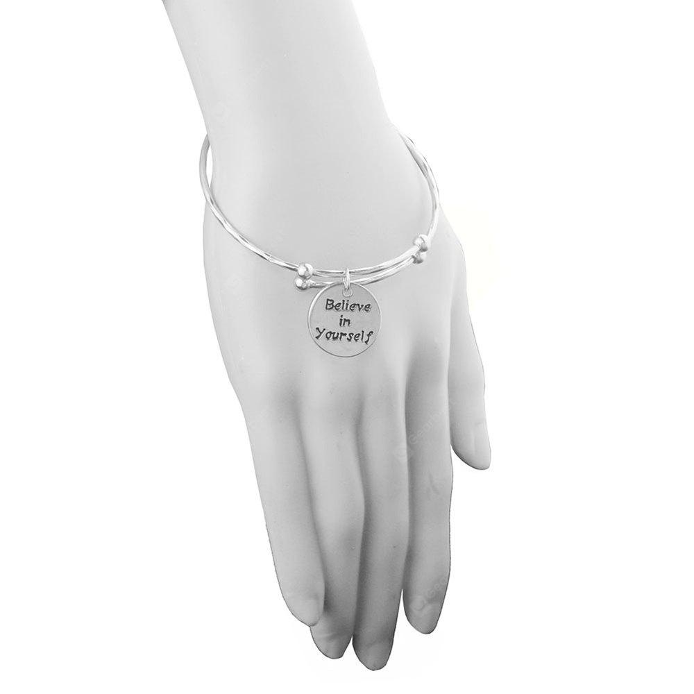 Fashion Round Ladys Womens Believe In Yourself Adjustable Cuff Bangle