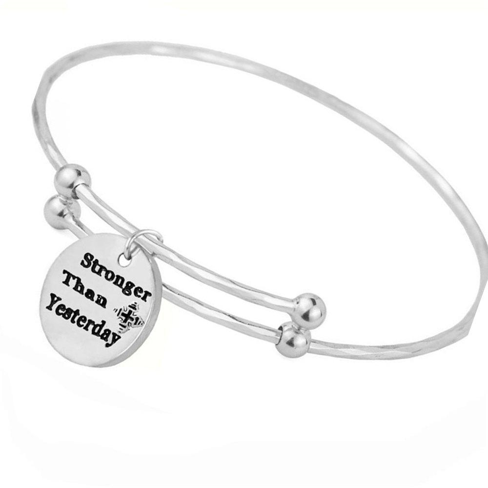 Stronger Then Yesterday Ladys Womens Fashion Round Adjustable Cuff Bangle