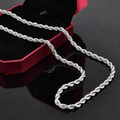 Mens 925 Sterling Silver Necklace Twisted Rope Chain 4mm