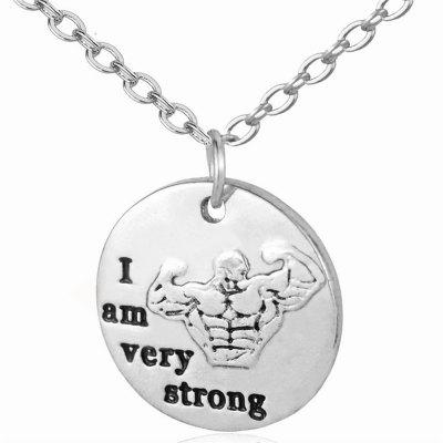 Round Dog Tag Fitness Pendant Inspirational Alphabet Necklace