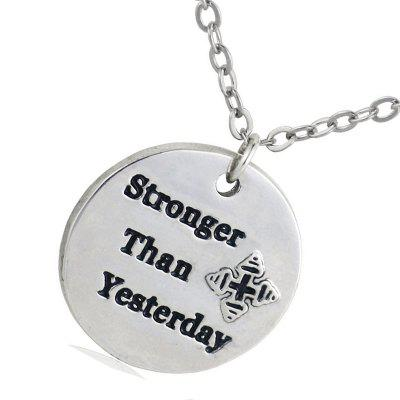 Letter Necklace Strong Then Yesterday Ladies DIY Pendant Necklace