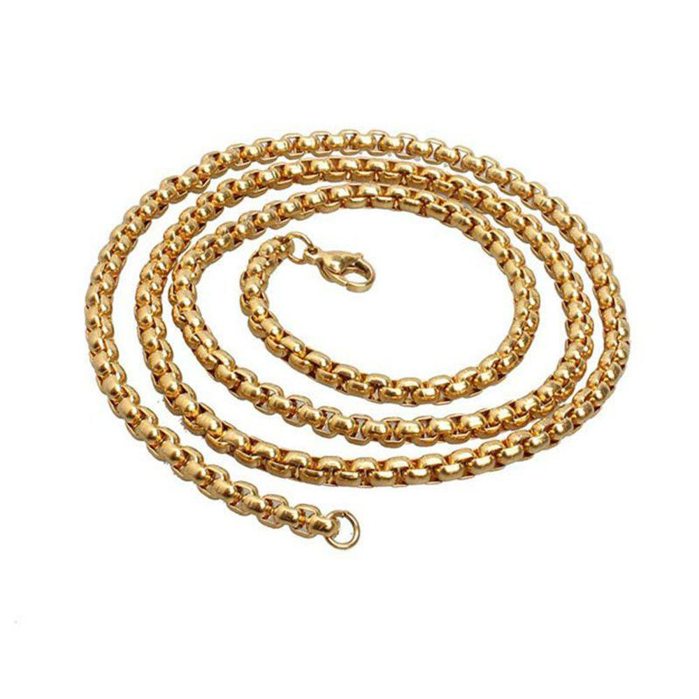 Fashion Round Box Rolo Chain Necklace Stainless Steel Jewelry