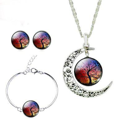 Buy RED Glass Cabochon Necklace Earrings Bangle Set (Totally 4 pcs) Colorful Life Tree Art Picture Pendant Statement Chain for $8.03 in GearBest store