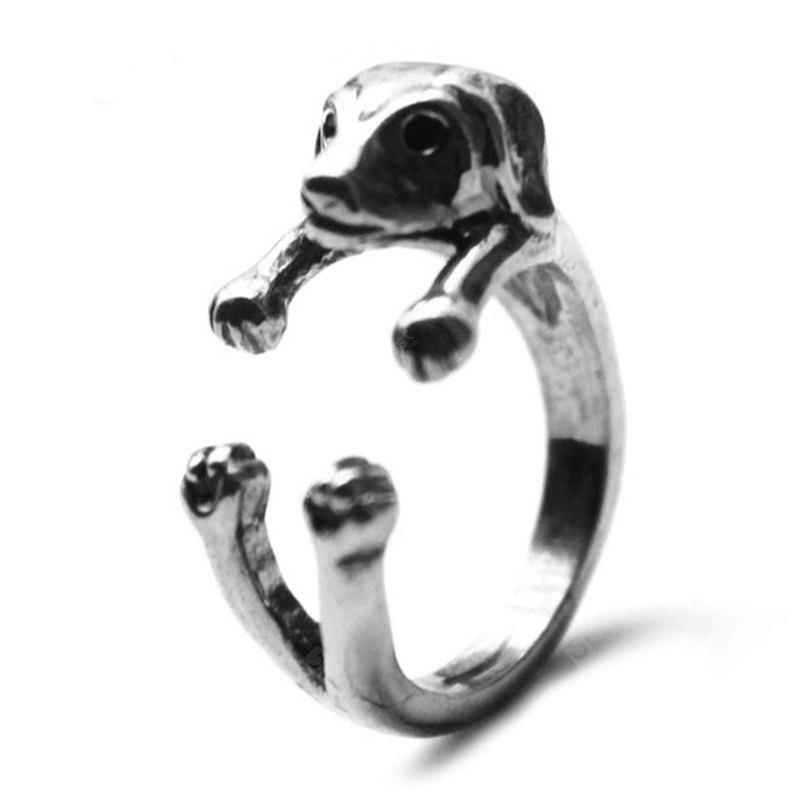 dachshund dog animal ring female models jewelry