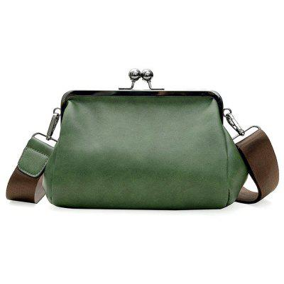 Bag Shoulder Bag Retro PU Singles Cross Clamp Lock Wide Straps Simple Fashion Literary Style