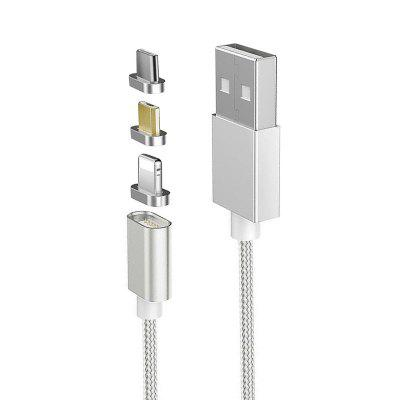 Nylon Braided 1M Magnetic 3 in 1 Sync Data Charging Cable for 8 Pin Android Type-C DevicesiPhone Cables &amp; Adapters<br>Nylon Braided 1M Magnetic 3 in 1 Sync Data Charging Cable for 8 Pin Android Type-C Devices<br><br>Color: Silver,Black,Gold,Silver,Black,Gold,Silver,Black,Gold<br>Features: ALL-in-1<br>Interface Type: Micro USB, 8 pin, USB Type-C<br>Mainly Compatible with: iPhone 7 Plus, iPhone 7, iPhone 6S Plus, iPhone 5S, iPhone 6S, iPhone 6 Plus, iPhone 6, Samsung S6, iPhone 5, SAMSUNG<br>Material ( Cable&amp;Adapter): Nylon<br>Package Contents: 1 x Cable<br>Package size (L x W x H): 15.00 x 10.50 x 2.00 cm / 5.91 x 4.13 x 0.79 inches<br>Package weight: 0.0350 kg<br>Type: Cable
