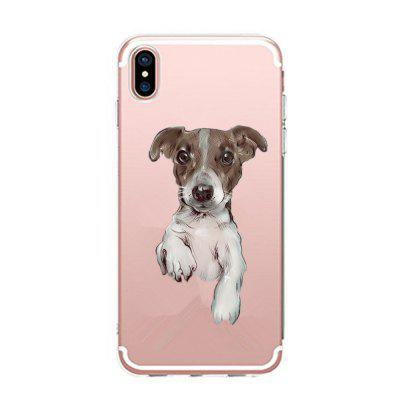 Custodia per iPhone X Cute Dog Pattern TPU Soft Cover posteriore ultrasottile