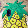 Pour iphone X 3D Cartoon ananas Silicone Case - JAUNE